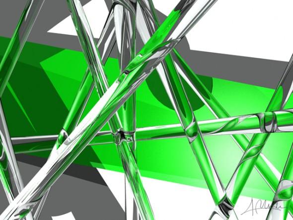 Composición Verde y Cristal