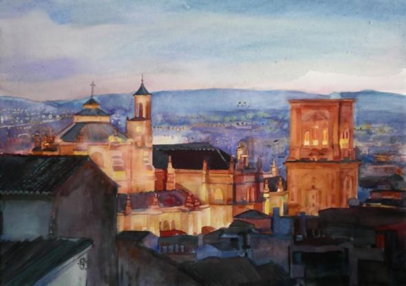 Catedral de Granada nocturna