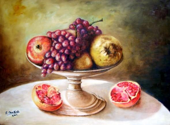 Remigio Megías. Obra: Frutero con frutas