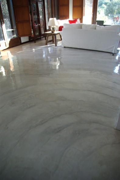 Obra de arte finca el escorial suelo cemento pulido y for Piso cemento pulido blanco