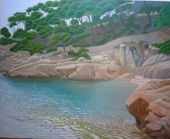 Árboles, rocas y mar en Tamariu