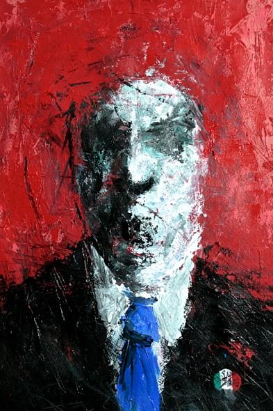 hombre con fondo rojo