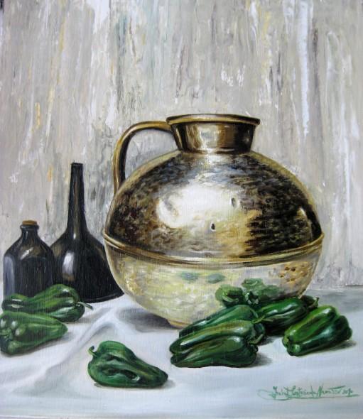 Bodegon con pimientos verdes