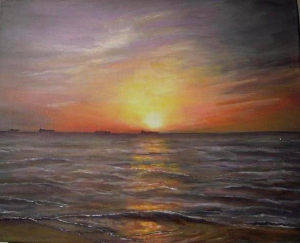 Cuando el sol tiñe el mar
