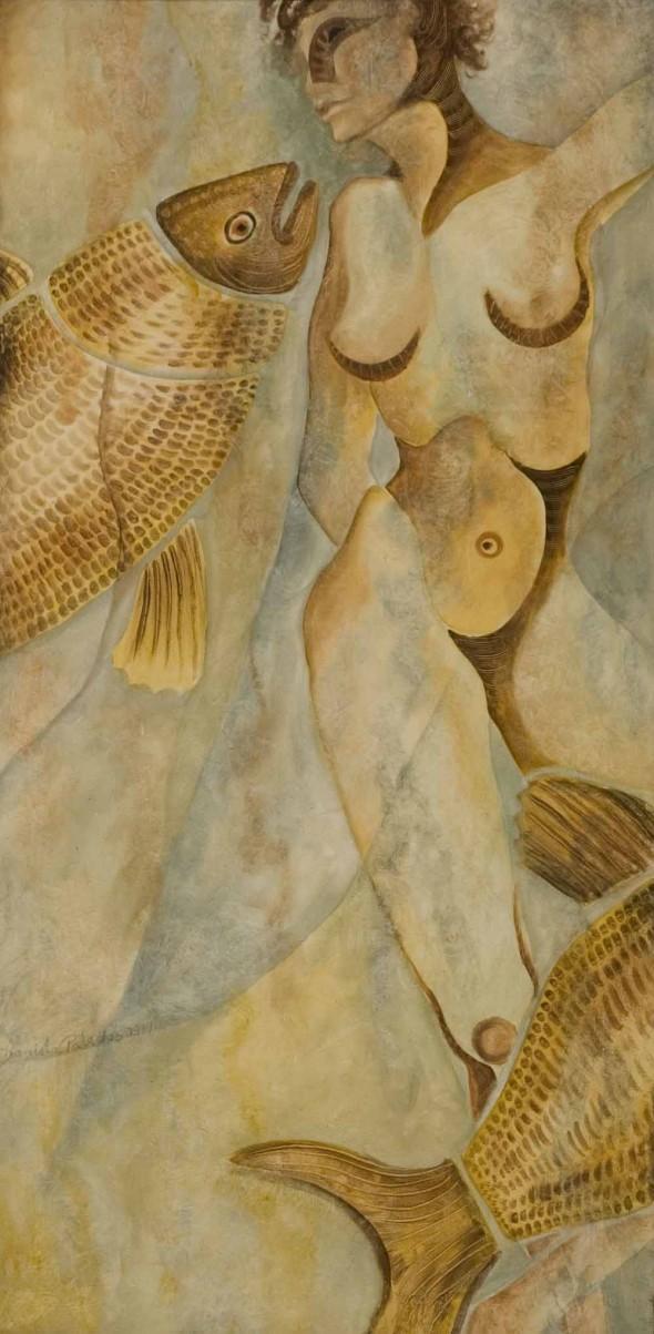 mujer con pez