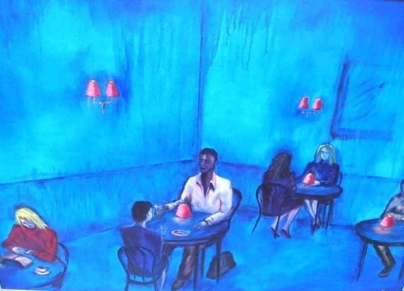 Blue Cafe 87x62cm 1997