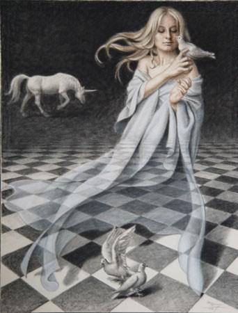 Mujer con palomas y unicornio