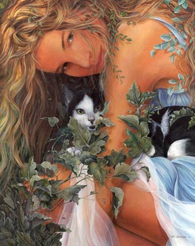 Mujer con Gato - Chelin Sanjuan