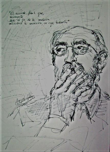 retrato del poeta Angel González