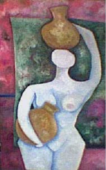 mujer con jarron