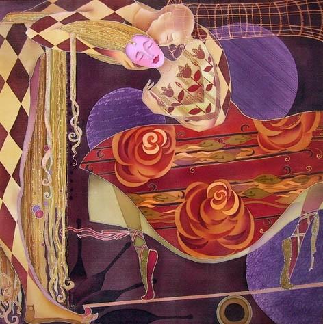 Pintura sobre seda, pintada a mano. Tecnica:Guta