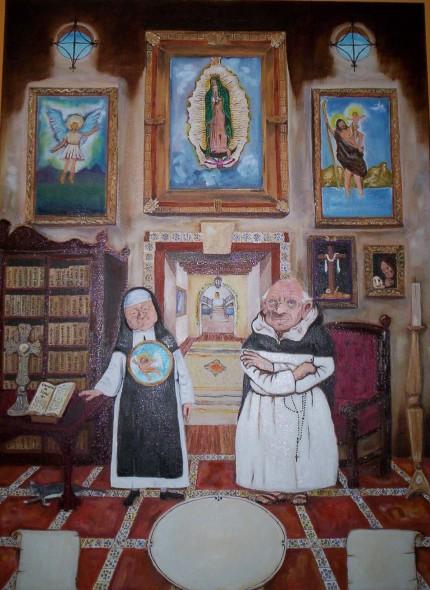 Sor Laica y Fray Polito en la Biblioteca Guadalupana del Convento de las Carmelitas con Tenis.