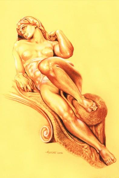 escultura de miguel angel realizada en dibujo