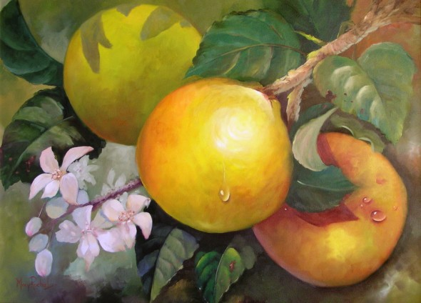 Mary Rocha Lemus. Obra: Bodegon Naranjas