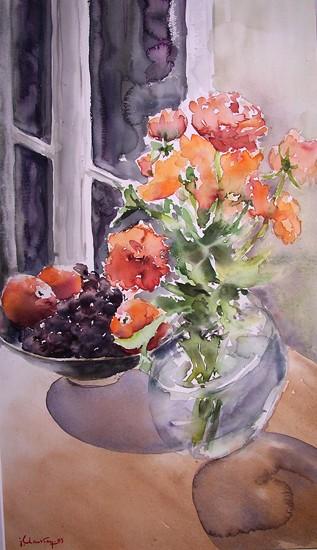 Mandarines et renoncules