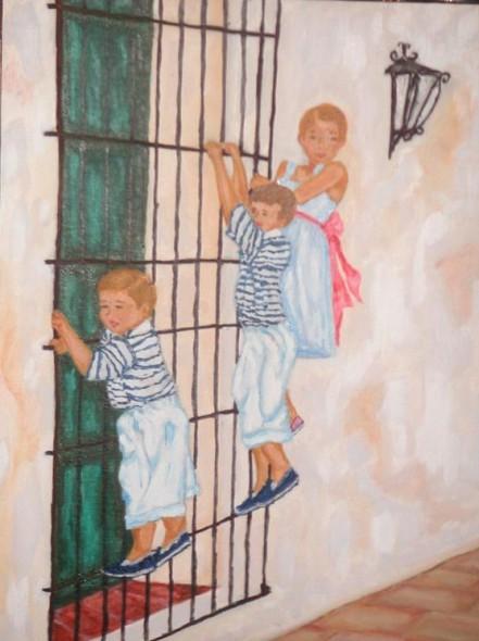 niños en la reja
