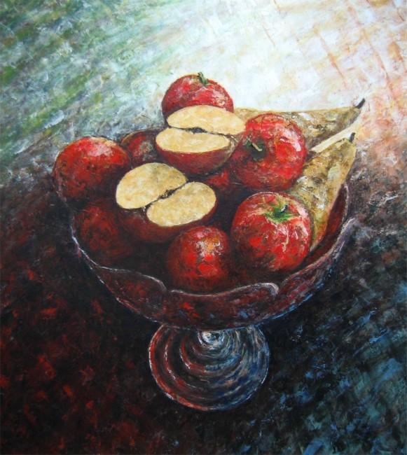 Frutero con manzanas