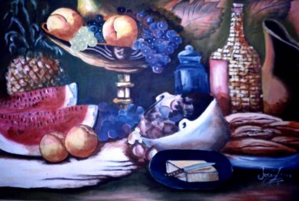 Vacija de cobre Uvas y manzanas