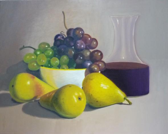 Uvas, peras y jarra de vino