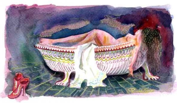 Bañera con zapatos rojos