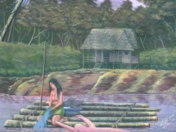 Mujer Lavando- Luis Beltran