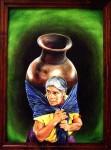 Obras de arte: America : México : Michoacan_de_Ocampo : Morelia : Juanita Cruz con su cocucha.