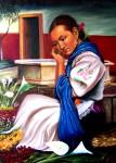 Obras de arte: America : México : Michoacan_de_Ocampo : Morelia : Vendedora de flores en Patzcuaro.