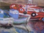 Obras de arte: Europa : Espa�a : Galicia_La_Coru�a : FERROL : Enbarcaciones en el muelle