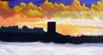 Obras de arte: Europa : España : Catalunya_Barcelona : Santpedor : ATARDECER CONTEMPLANDO EL CAMPANARIO DE SANTPEDOR