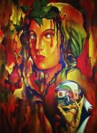 Obras de arte: America : Colombia : Antioquia : Medellín : PITONISA EN ROJO CON BOLA PARADOJICA DE ESDHER