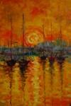 Obras de arte: Europa : España : Madrid : Madrid_ciudad : Puesta de sol en el puerto