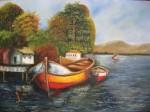 Obras de arte: America : Chile : Bio-Bio : Concepción : Bote atado en muelle