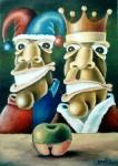 Obras de arte: America : Cuba : Camaguey : Camaguey_ciudad : El Rey, el Buf�n y la Manzana