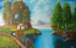 Obras de arte: America : Colombia : Distrito_Capital_de-Bogota : Bogota_ciudad : PAISAJE CASA CAMPO