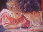 Obras de arte: America : Colombia : Antioquia : Medellín : Niños aprendiendo a leer