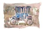 Obras de arte: America : Argentina : Buenos_Aires : General_Sarmiento : Automovil Baker Electric 1914. watercolor paintings. watercolour. Acuarela America. Argentina. Luis Seibert. antique automobile.