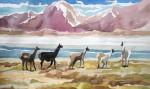 Obras de arte: America : Chile : Tarapaca : IQUIQUE : Llamas en salar