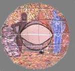 Obras de arte: America : Colombia : Distrito_Capital_de-Bogota : Bogota_ciudad : 3 MUJERES OBSERVANDO UN ESPECTADOR