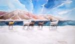 Obras de arte: America : Chile : Tarapaca : IQUIQUE : Llamas en laguna