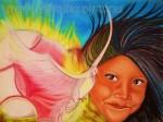 Obras de arte:  : Panamá : Panama-region : Panamá_centro : Niña y Flor del espíritu santo(derechos autor Lineth Márquez prohibida la reproducción)