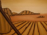 Obras de arte: Europa : España : Islas_Baleares : palma_de_mallorca : Fragmento de la obra mar de fresa y baston de chocolate.  paisaje visto desde la puerta de mi casa.