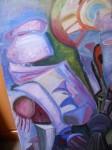 Obras de arte:  : España : Galicia_La_Coruña : Santiago_de_Compostela : robot en azul