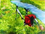 Obras de arte: Europa : España : Catalunya_Tarragona : Valls : Bicicleta en el rio.
