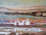 Obras de arte: America : Chile : Region_Metropolitana-Santiago : Santiago_de_Chile : Iglesia y pueblo del Altiplano