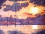 Obras de arte: Europa : España : Catalunya_Barcelona : Cervelló : veleros al atardecer