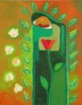 Obras de arte: America : México : Chiapas : Tuxtla : madre tierra con flores blancas