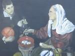 Obras de arte: America : Argentina : Buenos_Aires : Mar_del_Plata : Vieja friendo huevos