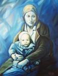 Obras de arte: Europa : España : Galicia_Pontevedra : Cambados : Maternidad en azul