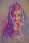 Obras de arte: Europa : España : Galicia_Pontevedra : Cambados : Chica con manto azul