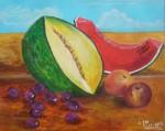 Obras de arte:  : España : Catalunya_Girona : Fontcoberta : Bodegón con melón